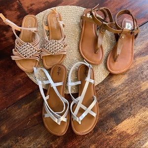 3 pairs of sandals all size 7